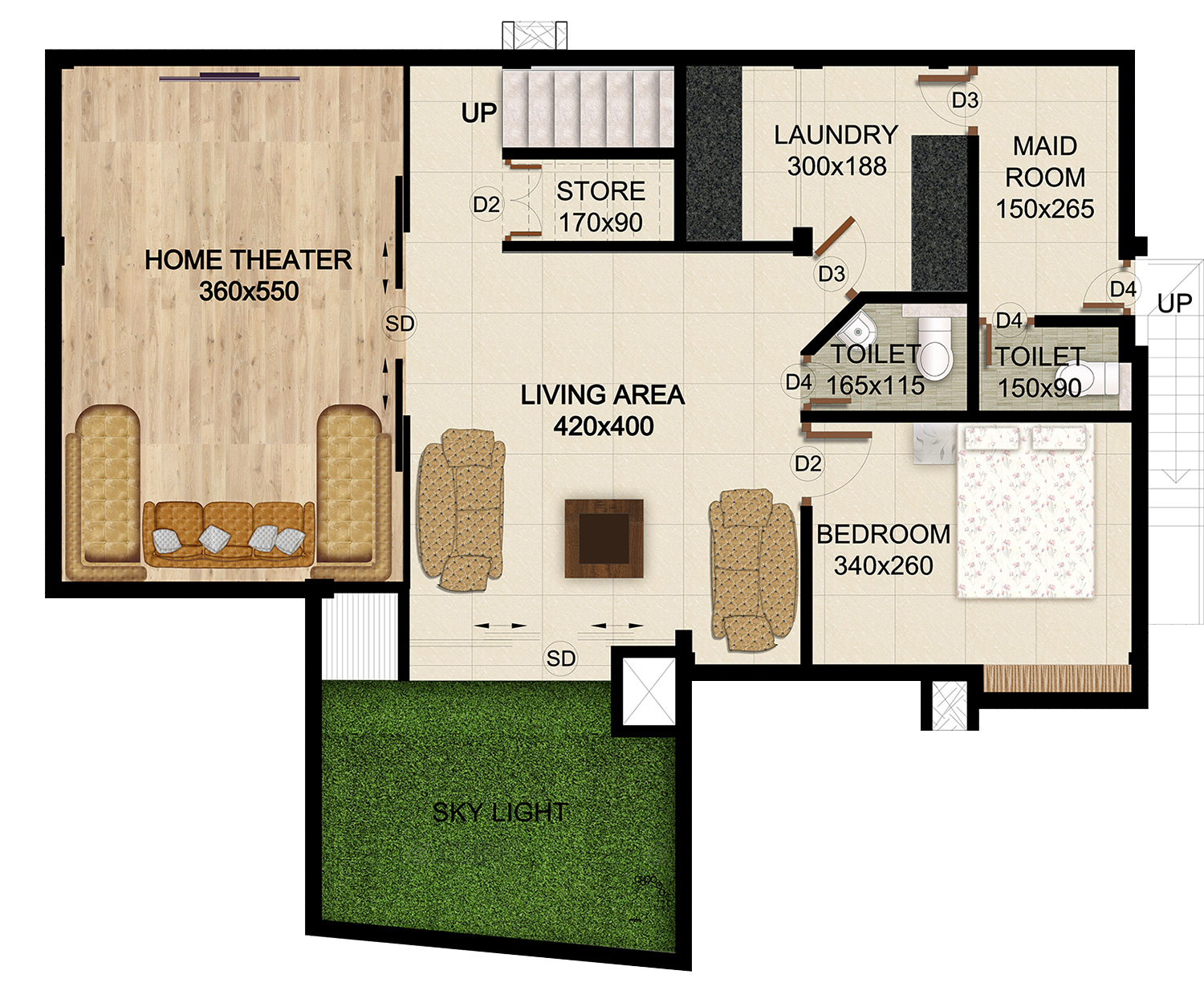 ClaySys Heights Villa Kakkanad - Floor Plan - Basement