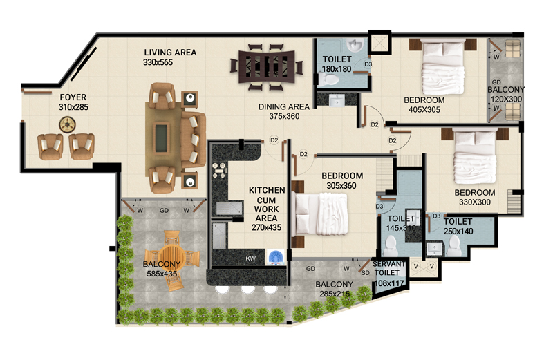 ClaySys Heights Kakkanad - Type A Apartment Floor Plan
