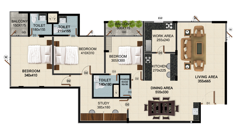 ClaySys Heights Kakkanad - Type C Apartment Floor Plan