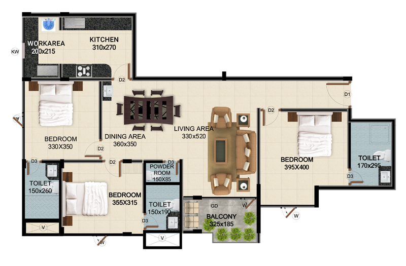 ClaySys Heights Kakkanad - Type D Apartment Floor Plan