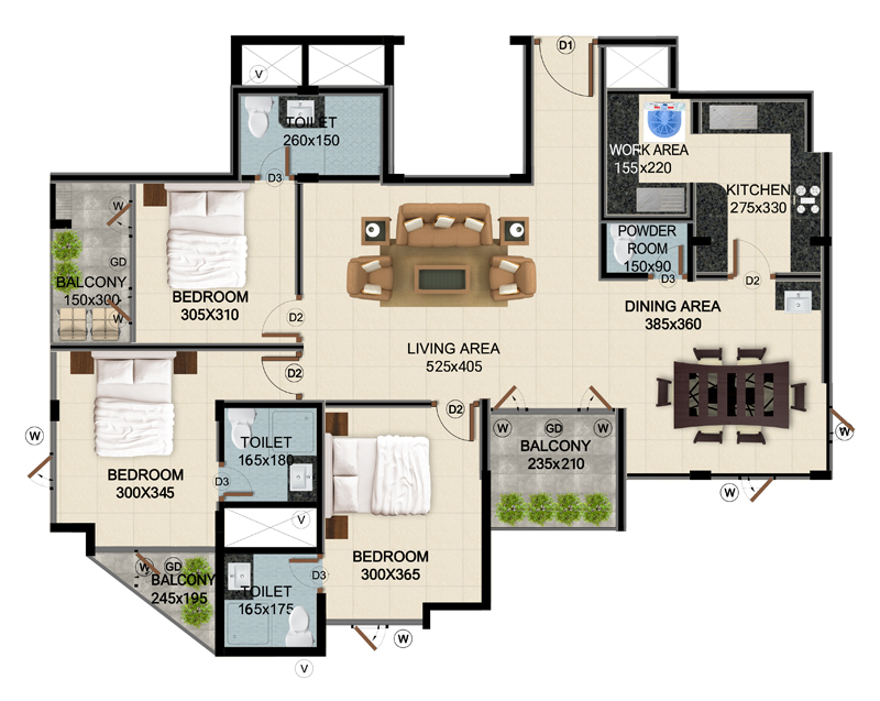 ClaySys Heights Kakkanad - Type E Apartment Floor Plan