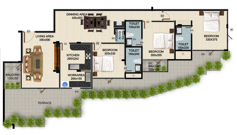 ClaySys Heights Kakkanad - Type F1 Apartment Floor Plan