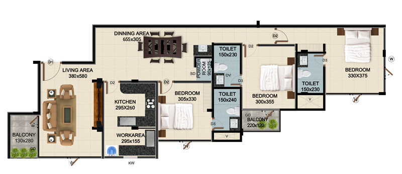 ClaySys Heights Kakkanad - Type F Apartment Floor Plan