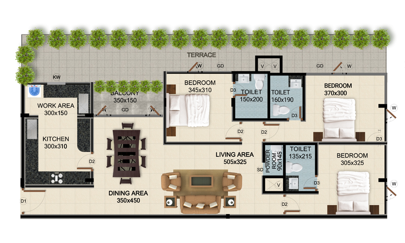 ClaySys Heights Kakkanad - Type G1 Apartment Floor Plan