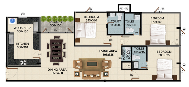 ClaySys Heights Kakkanad - Type G Apartment Floor Plan