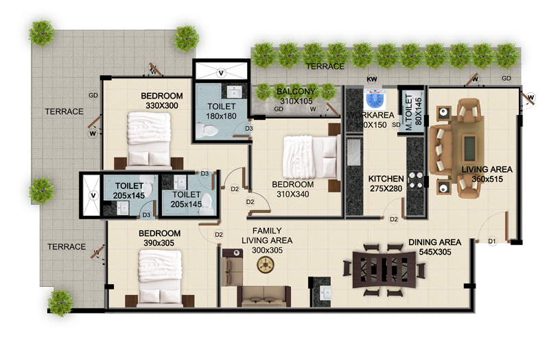 ClaySys Heights Kakkanad - Type H1 Apartment Floor Plan