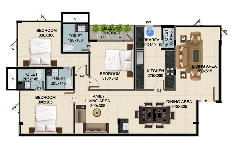ClaySys Heights Kakkanad - Type H Apartment Floor Plan