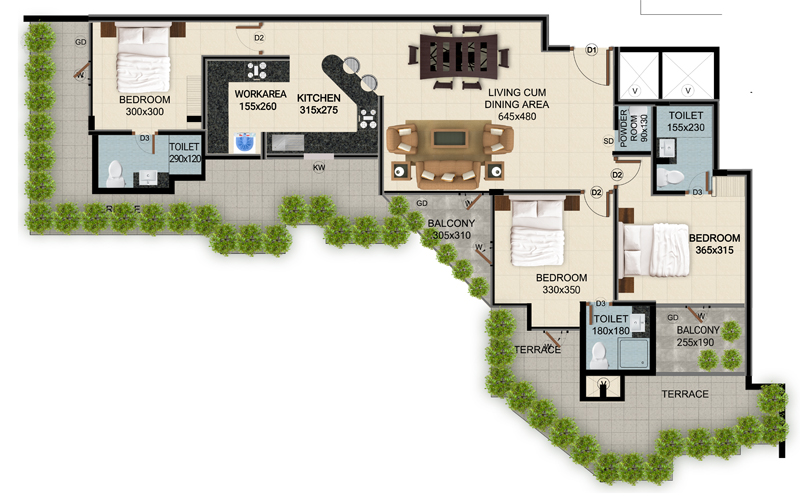 ClaySys Heights Kakkanad - Type I1 Apartment Floor Plan