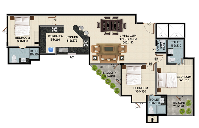 ClaySys Heights Kakkanad - Type I Apartment Floor Plan