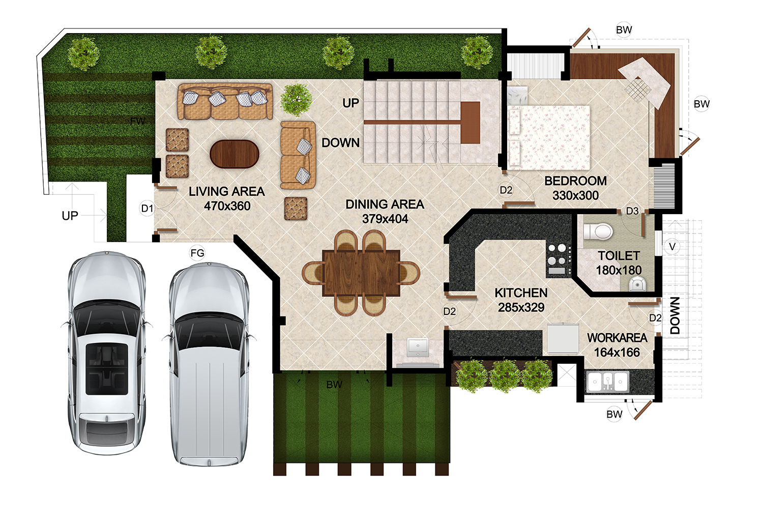 ClaySys Heights Villa Kakkanad - Floor Plan - Ground Floor