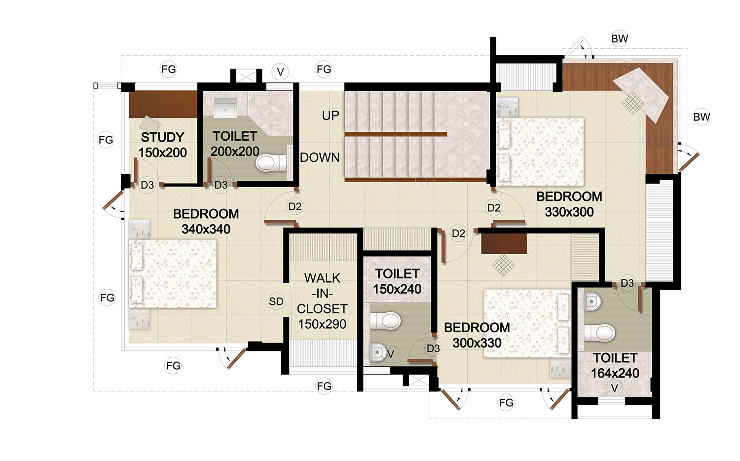 ClaySys Heights Villa Kakkanad - Floor Plan - First Floor